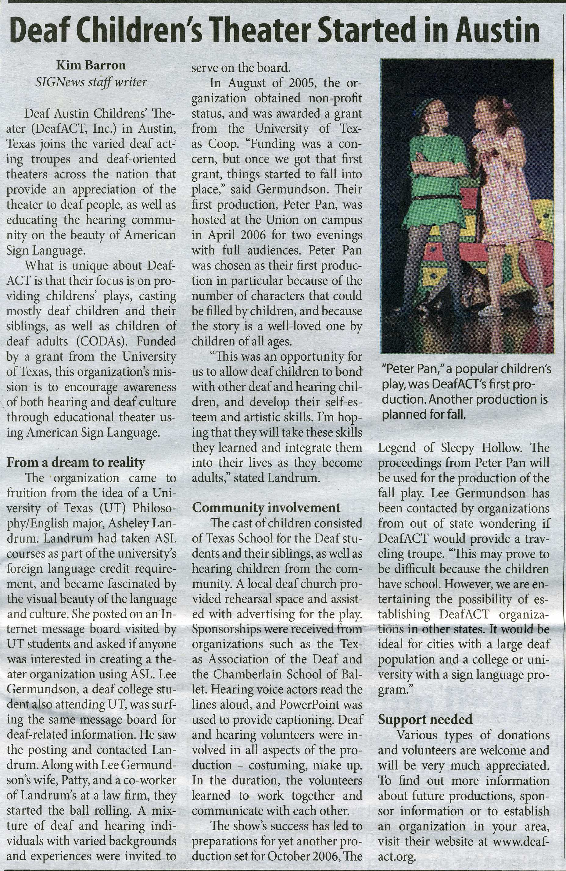 Deaf Act article on Signews